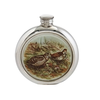 English Pewter 6oz Round Picture Hip Flask with Unique Woodcock Image with Engraving Available