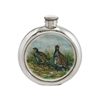 English Pewter 6oz Round Picture Hip Flask with Unique Partridge Image and Engraving Available