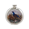 English Pewter 6oz Round Picture Hip Flask with Unique Grouse Image and Engraving Available