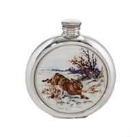 English Pewter 6oz Round Picture Hip Flask with Unique Hare Image and Engraving Available