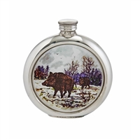 English Pewter 6oz Round Picture Hip Flask with Unique Wild Boar Image and Engraving Available