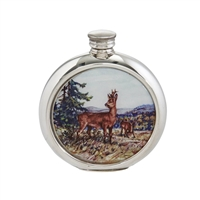 English Pewter 6oz Round Picture Hip Flask with Unique Roe Deer Image and Engraving Available