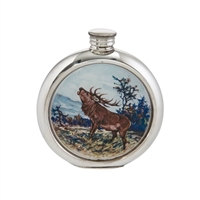English Pewter 6oz Round Picture Hip Flask with Unique Stag Image and Engraving Available