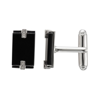 Sterling Silver Rectangular Black Onyx and Diamond Cufflinks