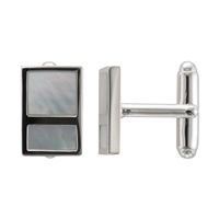 Sterling Silver Rectangular Mother of Pearl Cufflinks by Samuel Jones Pearls