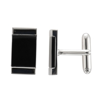 Sterling Silver and Black Onyx rectangular Cufflinks by Samuel Jones Pearls