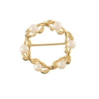 9ct Yellow Gold Cultured Freshwater Pearl Wreath Brooch