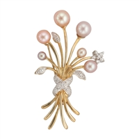9ct Gold Fancy Bouquet Brooch with Diamonds & Cultured Freshwater Pearls