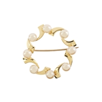 9ct Yellow Gold Cultured Freshwater Pearl Wreath Style Brooch