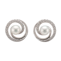 9ct White Gold Cultured Akoya Pearl and Diamond Swirl Style Earrings