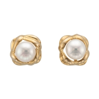 9ct Yellow Gold Knot Design Cultured Freshwater Pearl Earring Studs