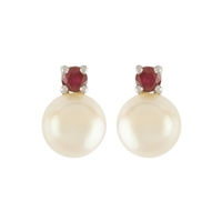9ct White Gold Ruby and Cultured Freshwater Pearl Earrings