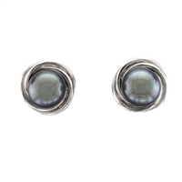 9ct White Gold and Black Cultured Akoya Pearl Knot Earring Studs