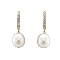 18ct Yellow Gold Diamond & Freshwater Pearl Drop Earrings