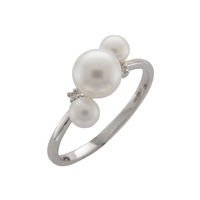 9ct White Gold Cultured Pearl and Diamond Dress Ring