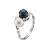 9ct White Gold Cultured Black and White Akoya Pearl Crossover Dress Ring