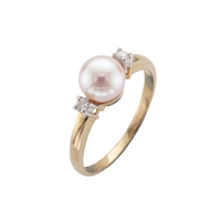9ct Yellow Gold Cultured Akoya Pearl & Diamond Dress Ring