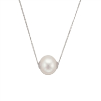 9ct White Gold Cultured Freshwater Pearl Slider Style Necklet