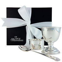 Sterling Silver Three Piece Egg Cup, Spoon and Napkin Ring Gift Set