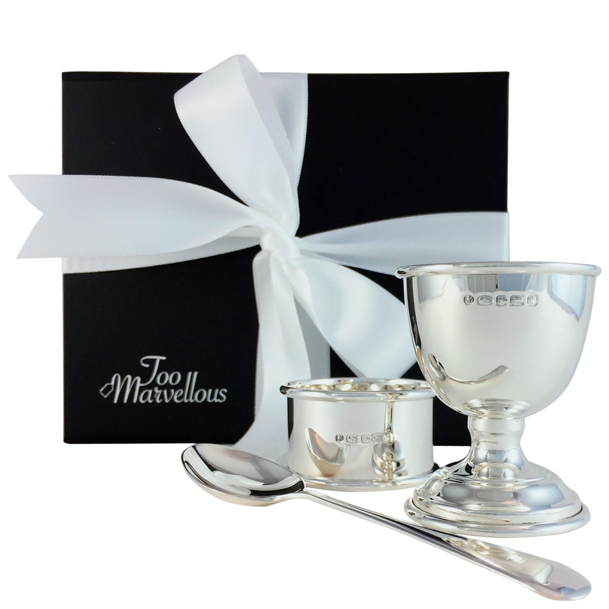 dedca84bed1f Sterling Silver Three Piece Egg Cup, Spoon and Napkin Ring Gift Set