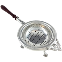 Sterling Silver Tea Strainer with Long Wooden Handle