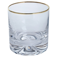 Pair Dimple Gold Range Crystal Double Old Fashioned by Dartington Crystal