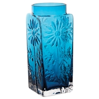 Large Teal Coloured Flower Vase. Marguerite Collection by Dartington Crystal