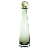 Olive Green Glass Bottle Small Decanter with Caithness Ball Stopper by Dartington Crystal