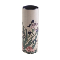 Porcelain Flower Vase Hokusai Irises, Peonies & Sparrows by John Beswick
