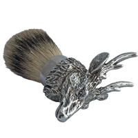 Pewter Stag Head Shaving Brush with Badger Bristle
