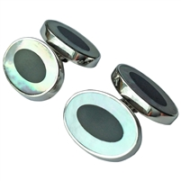 Sterling Silver, Mother of Pearl and Black Onyx Oval Cufflinks