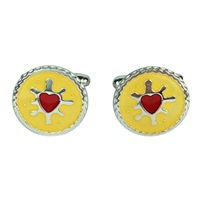 Sterling Silver and Enamel Jammie Dodger Cufflinks