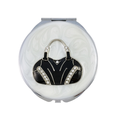Compact Handbag Mirror with Black and White Enamel and Swarovski Crystal Decoration