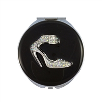 Compact Handbag Mirror with Shoe Set with Swarovski Crystals