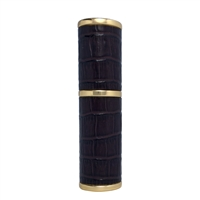 Dark Brown & Gold Refillable Handbag Perfume Atomiser with Imitation Crocodile Skin. 8ml