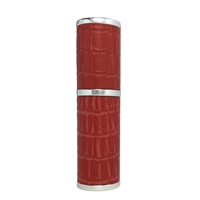 Silver & Ruby Red Refillable Handbag Perfume Atomiser with Imitation Crocodile Skin. 8ml