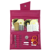 Hot Pink Leather Travel Sewing Kit