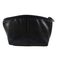 Black Leather Makeup Bag