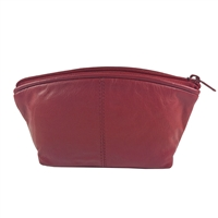 Red Leather Makeup Bag