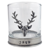 11oz Whisky Tumbler with English Pewter Stag Motif