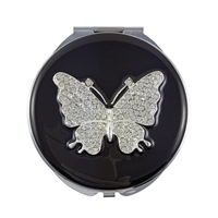 Compact Handbag Mirror with Black Enamel and Large Swarovski Crystal Butterfly Design
