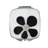 Compact Handbag Mirror with Black & White Enamel and Flower Motif