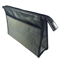 Traditional Square Gents Wash Bag with Basket Weave Design and Leatherette Trim