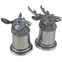 English Pewter Stag Head Salt and Pepper Shakers