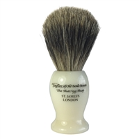 Medium Ivory Shaving Brush with Pure Badger Bristle by Taylor of Old Bond Street