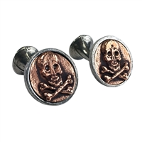 English Pewter Skull and Crossbones Copper Plated Cufflinks