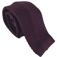 Knitted Silk Plain Burgundy Tie by Peckham Rye