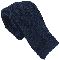 Knitted Silk Plain Blue Tie by Peckham Rye