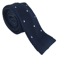 Knitted Silk Blue Spot Tie by Peckham Rye