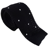 Knitted Silk Black Spot Tie by Peckham Rye